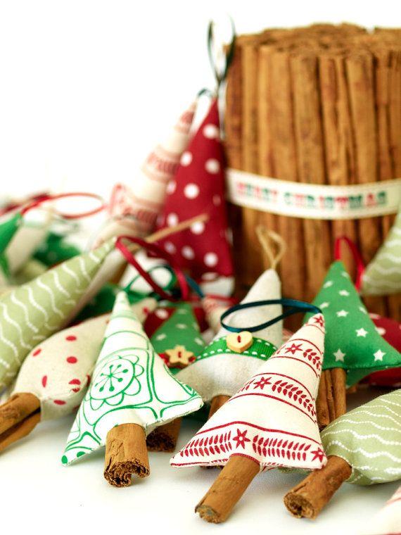 Inspiration.....Materials: fabric, fibre fill, cinnamon stick (trunk), christmas cheer, ribbon, button (3 for $23.00)//