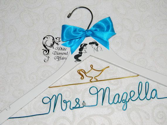 Jasmine & Aladdin Themed Wedding Hanger by WhiteDiamondAffairs