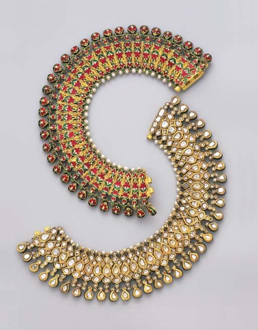 Diamond Anklets | Mughal or Deccani, late 19th century | Each ankle bracelet designed as a series of flexible pear-shaped links set with table-cut diamonds within foiled gold surrounds to a pear-shaped diamond fringe and seed pearl surmount, the reverse of similar design in red, white and green enamel