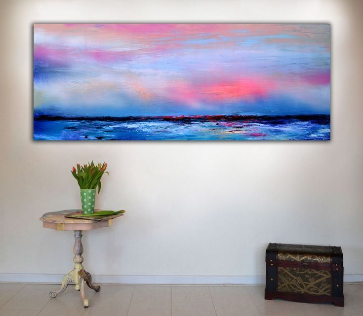 Buy New Horizon 49 - 150x60 cm, FREE SHIPPING Large Modern Ready to Hang Abstract Landscape, Seascape, Sunrise, Sunset, Abstract Painting Art, Acrylic painting by Soos Roxana Gabriela on Artfinder. Discover thousands of other original paintings, prints, sculptures and photography from independent artists.