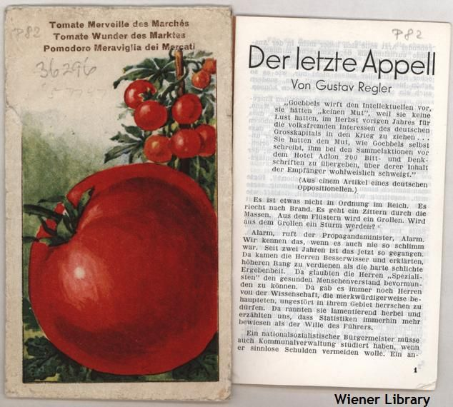 Anti-Nazi pamphlet (Tarnschrift) hidden in a packet of tomato seeds. 1930s.