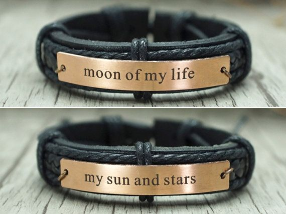Game of Thrones inspired engraved cuff bracelets-- moon of my life -- my sun and stars, set of two, right, you will receive two bracelets.  Are you a HUGE Game of Thrones fan? I am too! My sun and stars & Moon of my life - Daenerys Targaryen & Khal Drogos pet names for each other in the A Song of Ice and Fire series by George R. Martin. This bracelet would make a perfect gift for bff, girlfriend, boyfriend, lovers, couples, etc.  This metal band was handmade from stainless…