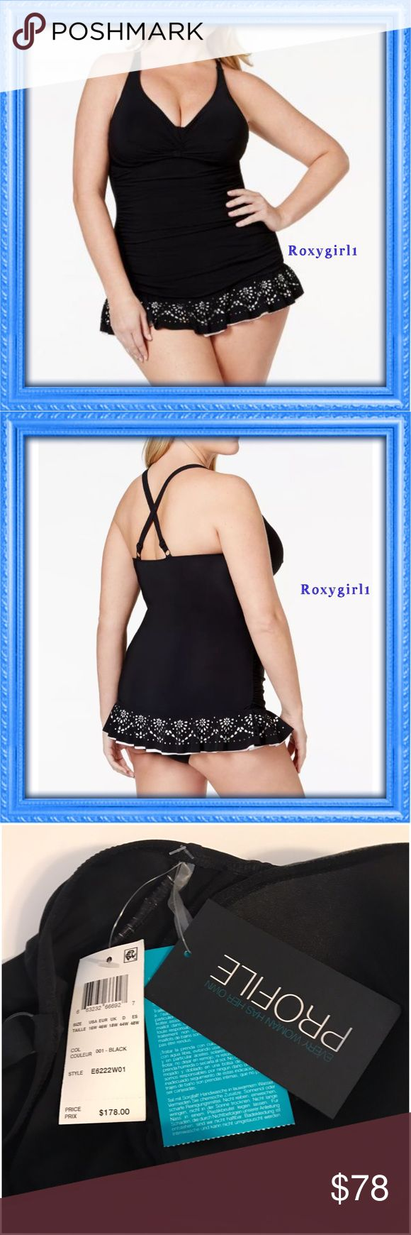 Profile Gottex Enchantment Laser Cut Swimsuit Profile Gottex Black Enchantment Laser Cut 1 Piece Swimsuit  So Flattering! New with Tags Attached  $178 + Tax  Profile by Gottex's chic 1 piece skirted swimsuit is finished with a ruffled crochet hem for a boho-inspired beach look!  V-neckline Adjustable over-the-shoulder straps cross at back Non-removable soft cups Ruched across front Skirted bottom with attached brief Ruffled hem with laser-cut crochet overlay Full bottom coverage…