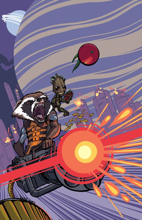 Rocket & Groot by David Joyce.