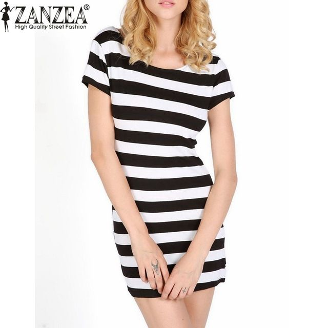 Zanzea 2016 Women Summer Fashion Short Sleeve Bowknot Backless Dresses Casual Elegant Bodycon Slim Fit Striped Dress  US $10.69 /piece  To Buy or Clayey Other Models Click On This Link  http://goo.gl/OCfUcW