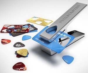Salvage your old credit cards, IDs, and other hard plastic cards by turning them into guitar picks. This hole puncher can convert almost anything into a standard 351 shape guitar pick, making it a great gift for musicians who like to personalize their equipment.