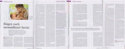 Deutsche Hebammenzeitschrift aus August 2015 -Klagen nach vermeidbarer Sectio Kaiserschnitt Schmerzensgeld Schadensersatz Fachanwltin fr Medizinrecht Sabrina Diehl