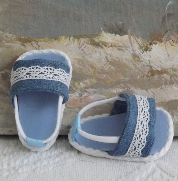 American Girl Doll Clothes Sandals Shoes Denim by sewgrandmacathy