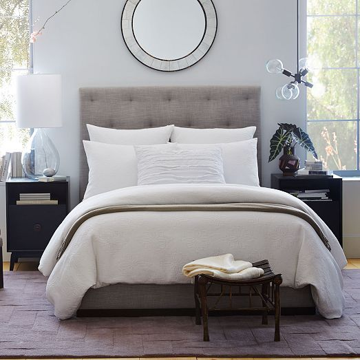 diamond tufted headboard west elm our forever house. Black Bedroom Furniture Sets. Home Design Ideas