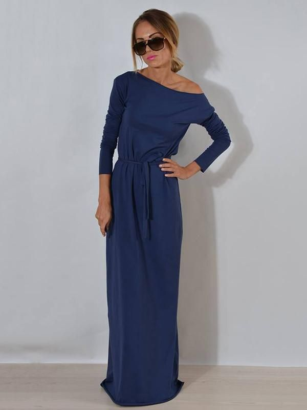 758a3278ff3 Solid Color Belted Long Sleeves Maxi Dress