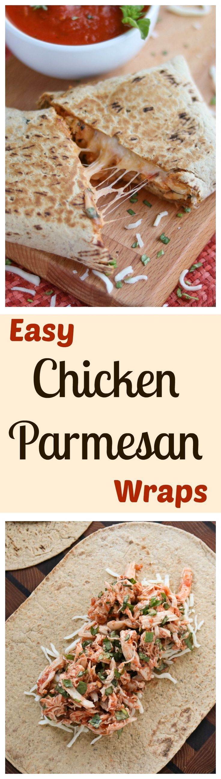These Easy Chicken Parmesan Wraps are a super-fast, 15-minute meal! Make them ahead - they're portable and freezable, too! All the cheesy, saucy, comforting flavors of your favorite chicken parmesan casserole … yet so quick and simple! AD | www.TwoHealthyKit...