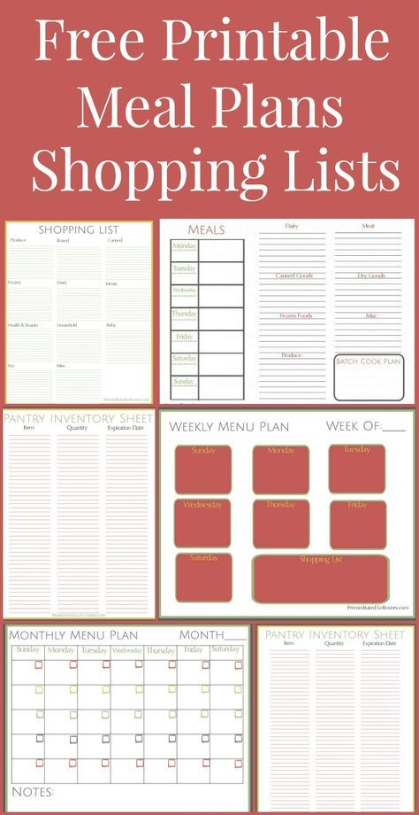 Free Printables Including A Weekly Meal Plan, Month Menu