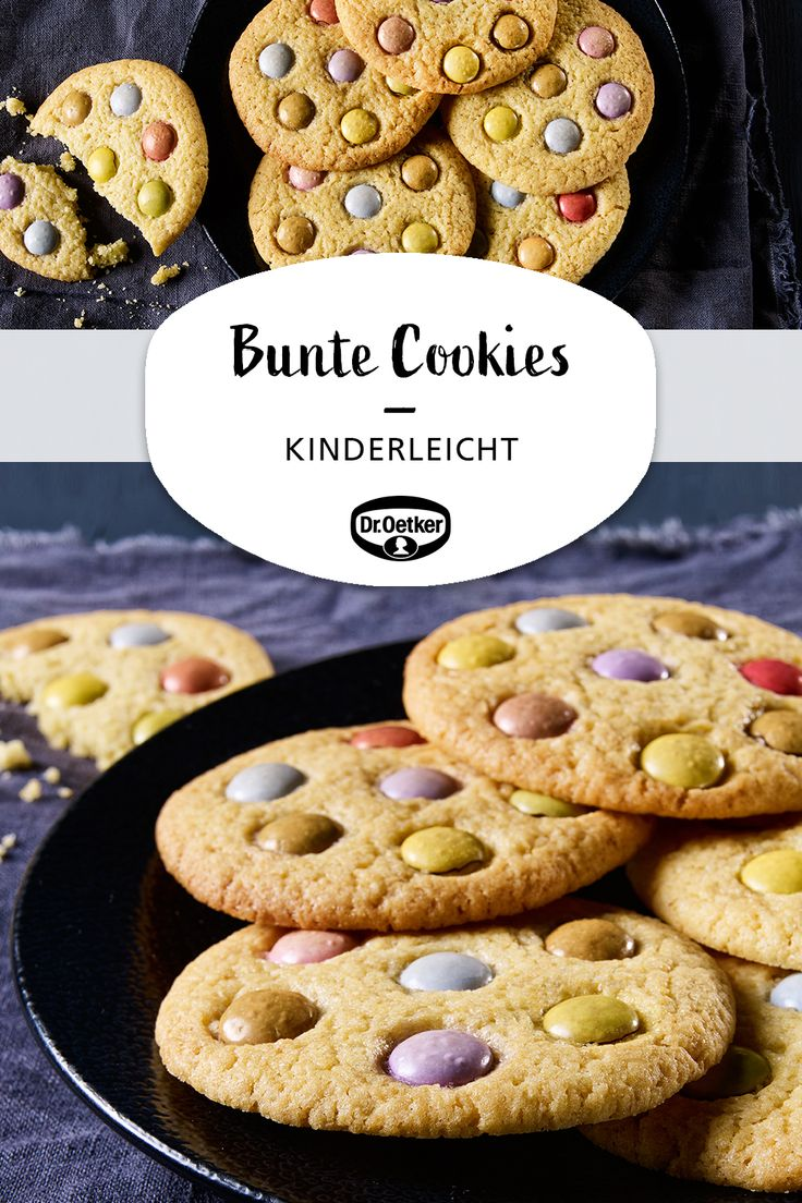 Bunte Cookies: Knusprige Plätzchen mit bunten Schokolinsen #keksebacken #zumkaffee #teatime