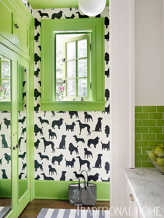 mudroom | Katie Rosenfeld Design love the wallpaper: Dog Wallpaper, Dogs Wallpapers, Home Tours, Mudroom Wallpapers, Green Color, Wall Paper, Dogs Rooms, Mud Rooms, Traditional Home