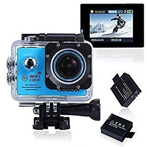 Sports Action Camera, Canany Wifi Underwater Video Camera 1080P FHD 12MP 2.0Inch Bundle With 2 Batteries and FREE Accessories Kits CY6000 (Blue) : Electronics