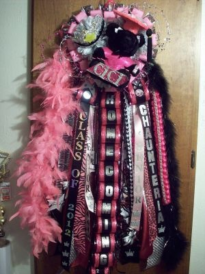 Homecoming Mums - Senior Mum for Homecoming Hot Pink and Black Custom Homecoming Mum - Special Event Floral Designs