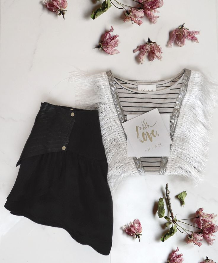 IXIAH FLAT LAYS // The Shining Fringed Tank & Wonderous Leather Short  Fringing, raw, bohemian, style, fashion, flowers, red, pink, black and white, stripe, street style, black short, tank top, tee, basic, essentials,