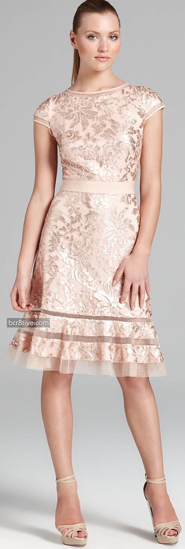 Tadashi Shoji Dress - Cap Sleeve Sequin Lace via @Claudia Park Abrego