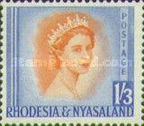 Rhodesia and Nyasaland, 1.7.1954, Queen Elizabeth II. No.11 1Sh3P blue/reddish orange. Stamped 2,70 USD, Mint Condition 81,06 USD.