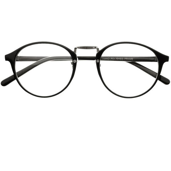 True Vintage Fashion Style Clear Lens Eyeglasses Round Frames R45... (£3.29) ❤ liked on Polyvore featuring accessories, eyewear, eyeglasses, glasses, round glasses, vintage eyeglasses, vintage round eyeglasses, black eyeglasses and vintage glasses