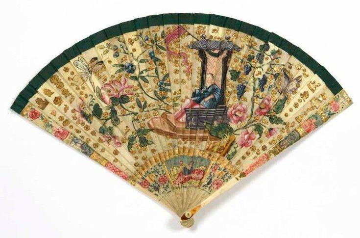 "Hand Fan ""brisé"" - gouache & ivory, circa 1720 - Deburaux"