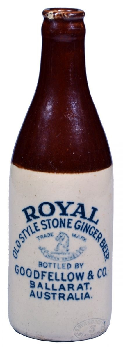 Royal Old Style Stone Ginger Beer Goodfellow & Co Ballarat Australia. Horse Head trade mark. Crown Seal bottle