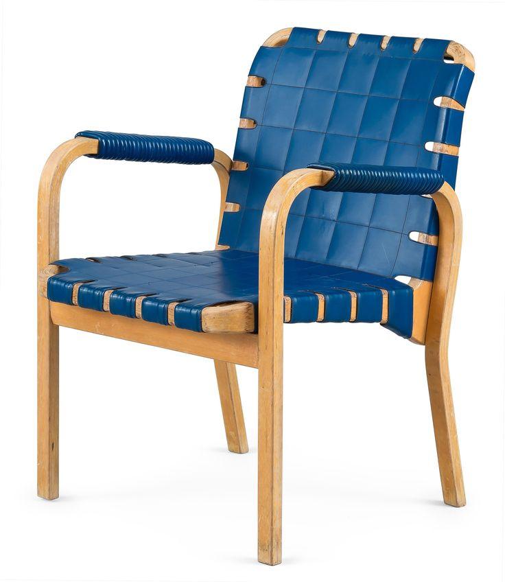 Alvar Aalto; #45 Bent Laminated Birch Armchair for Artek, 1950s.