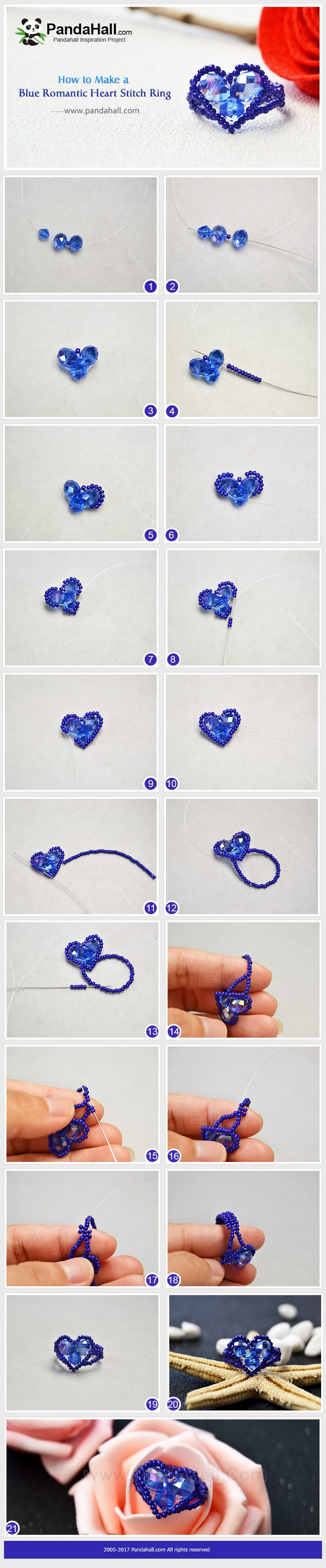 Blue Romantic Heart Stitch Ring As Valentine's Day is approaching, today we teach you to stitch a heart-shaped ring with seed beads and glass beads for your lover to show your deep love. #PandaHall #howto #freetutorial #beadedring #diyrings #glassbeads