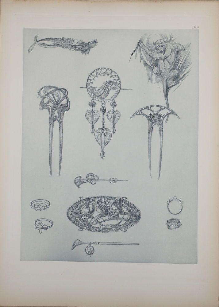 ALPHONSE MUCHA DOCUMENTS DÉCORATIFS ORIGINAL LITHOGRAPH 1902 ART NOUVEAU PL 51 #ArtNouveau