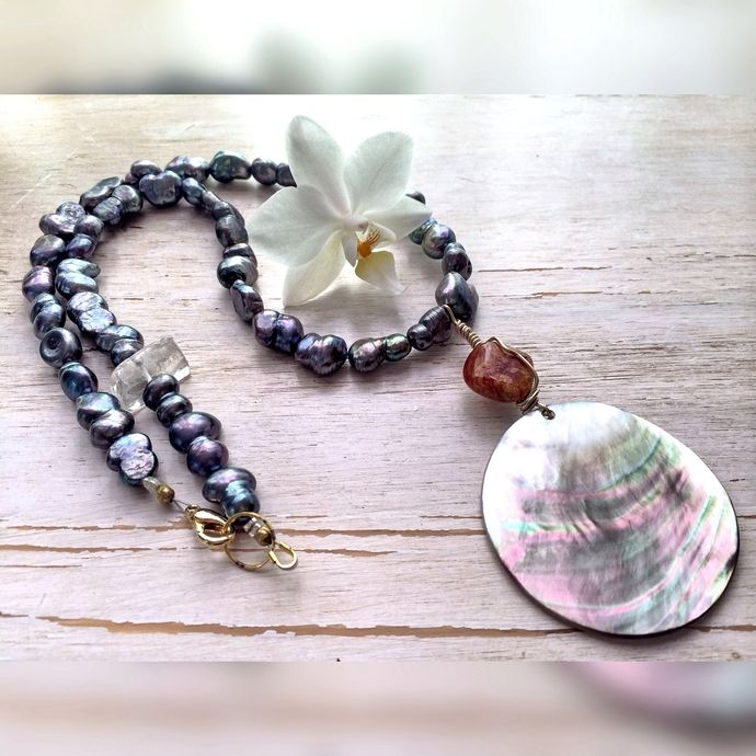 Ocean of Love - Necklace / Sweetwater Pearls Blue , Shell , Baltic Amber, Crystal Rock Quartz / Classic , Meaningful and Elegant  Necklace by BatyaHavDesign, $89.00 USD