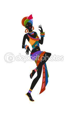 Mujer africana bailando danza ritual — Vector de stock #81082584                                                                                                                                                                                 Más