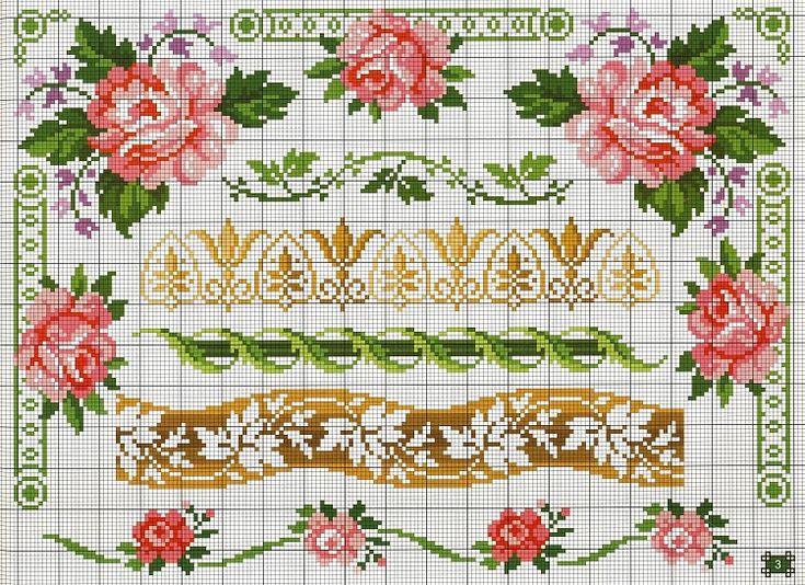 Marcos y rosas punto de cruz