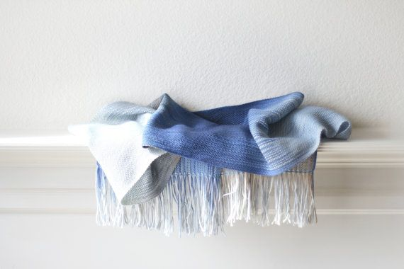 Hand woven scarf blue and white long with fringe by katerynaG, $85.00