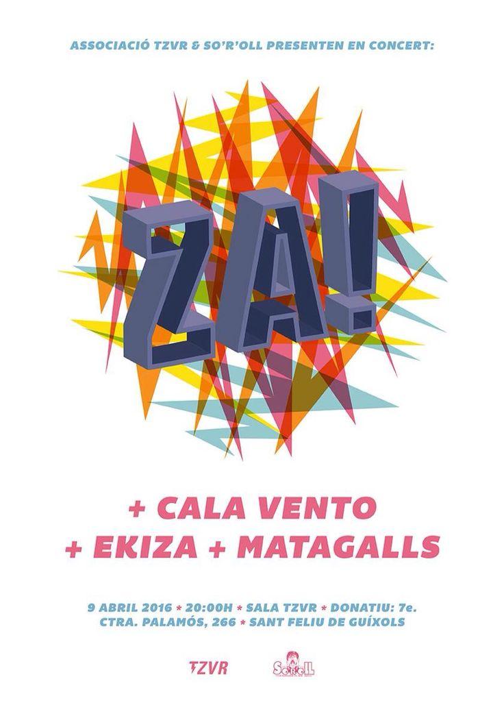 Gigposter for Za! + Cala Vento + Ekiza + Matagalls