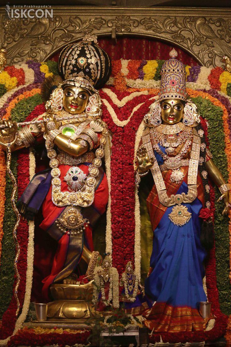 Sri Sri Radha Krishnachandra in Vishesha Alankara at ISKCON Bangalore on April 20, 2017 as part of the ongoing Brahmotsava celebrations.