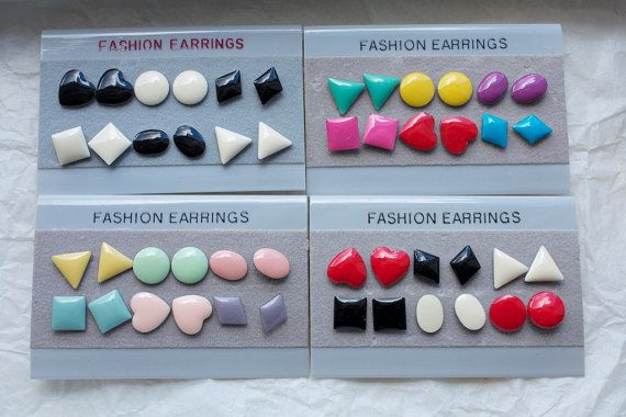 1980s EARRINGS, for those weird kids out there, you wore mismatched sets to match your sweaters.