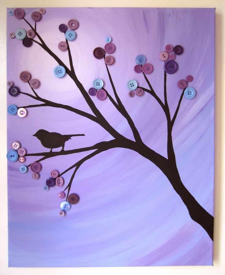 Button Tree Painting - Purple Sparrow- Acrylics & Buttons Canvas. Buy this one or make your own with a tutorial from www.bustedbutton.com :)