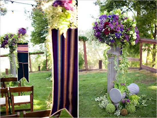 Flags, could make in any colour combination, would make great ceremony and reception decor.