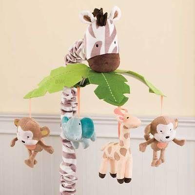 Jungle Animals Monkey Elephants and Giraffe Baby Boy Nursery Crib Musical Mobile
