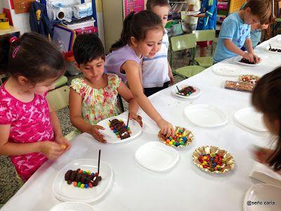 El blog de la Seño Carla: Un pequeño taller de cocina creativa el último día de clase: Gusanos de seda.