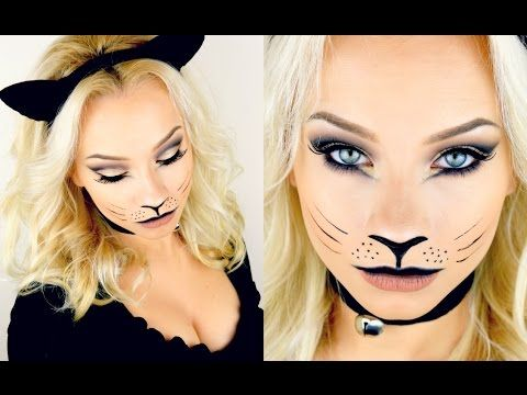 Last Minute Halloween Kitty Cat Makeup Tutorial 2015 - YouTube