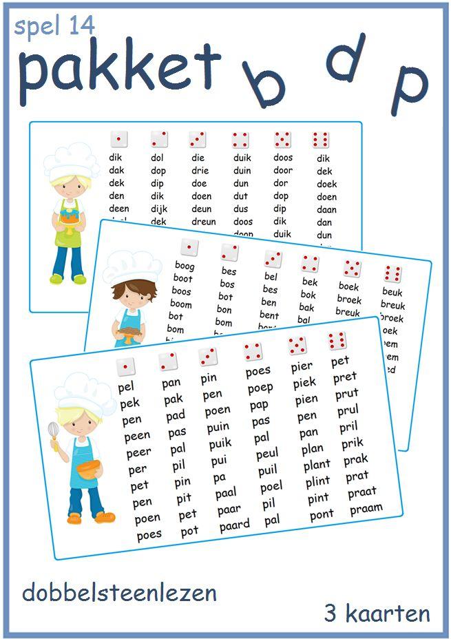 Dobbelsteenlezen met de letters b, d en p