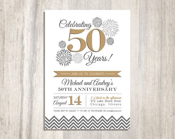 Wedding anniversary party printable invitation 50th for Free printable 60th wedding anniversary invitations