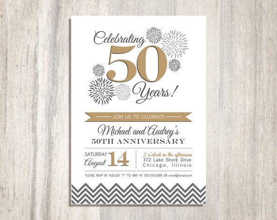 Wedding anniversary party printable invitation 50th for Free printable 60th wedding anniversary invitations
