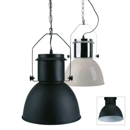 chroom/wit of zwart/wit industriële hanglamp