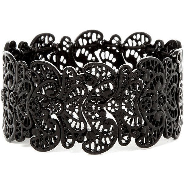 Black Filigree Stretch Bracelet ($5) ❤ liked on Polyvore featuring jewelry, bracelets, accessories, jóias, bracelet bangle, kohl jewelry, stretch bracelet, wide bracelet and black jet jewelry