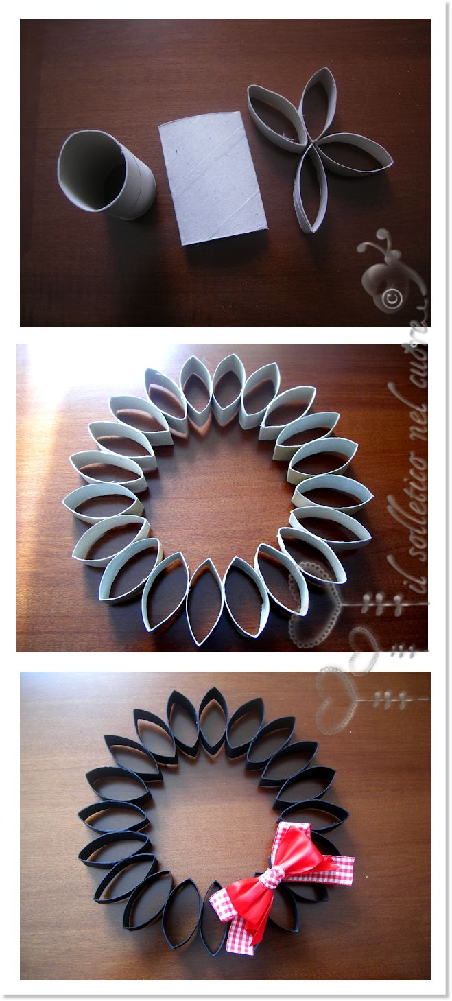Toilet Paper Roll Tube Cardboard simple wreath tutorial