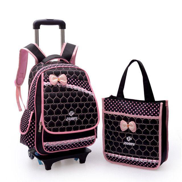 Children Trolley School Bags Rolling Mochilas Escolar Kids Wheeled Printing Backpack Girls Bagpack Back Pack Bolso Wheels 2 sets