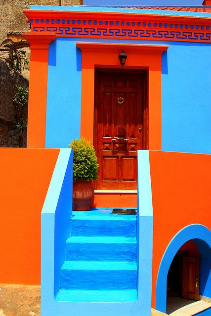 "House, Symi island by Marie Therese Magnan on Flickr. ""Closeup view of an orange and blue traditional house, Chorio, Symi island, Dodecanese, Greece."""