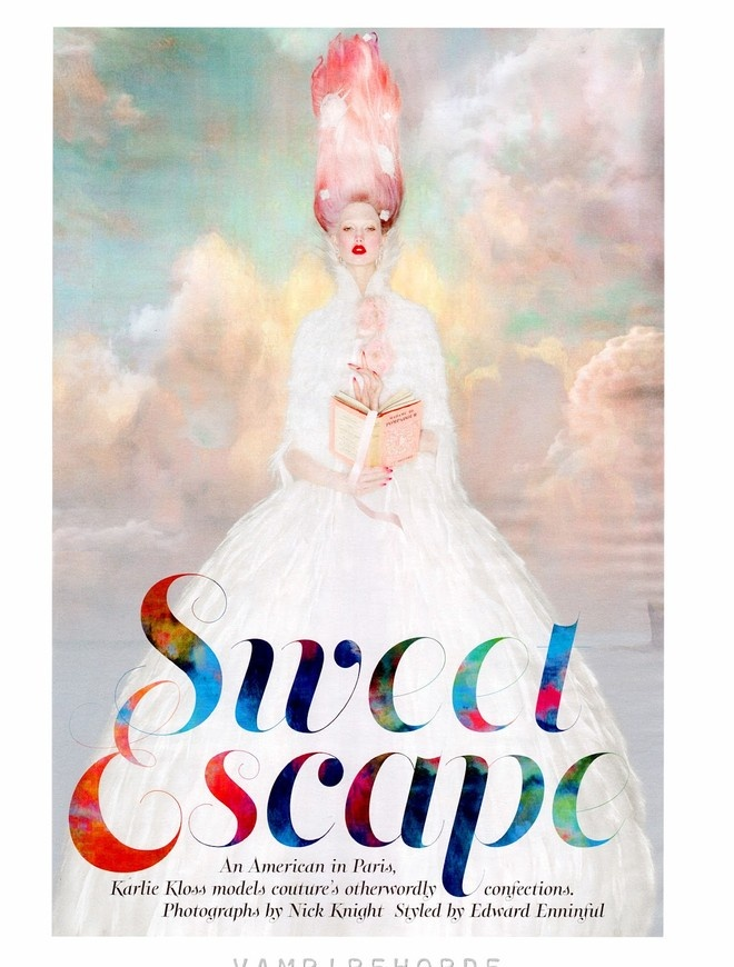 """Изящная и элегантная Карли Клосс (Karlie Kloss) примеряла кутюрные наряды для фотосессии Ника Найта (Nick Knight) """"Sweet Escape""""."""